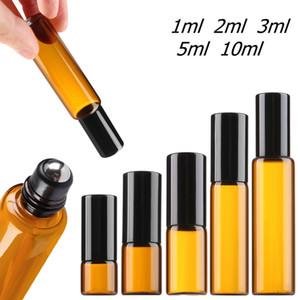 1ML 2ML 3ML 5ML 10ML العنبر الزجاج لفة على زجاجة فارغة من الضروري النفط عطر Rollon أنبوب معدني الأسطوانة الكرة زجاجة الذهب غطاء السفر المحمولة