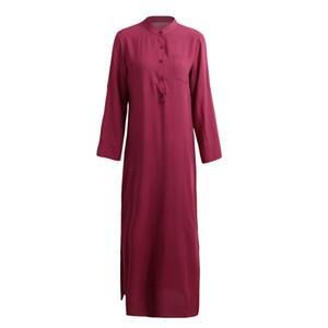 2019 새로운 패션 인기있는 여성의 봄 패션 여성 섹시 캐주얼 셔츠 드레스 긴 소매 깊은 V 넥 분할 솔리드 롱 맥시 드레스