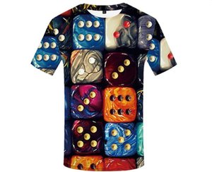 Dice 3D Print T Shirt for Men Women Casual Crew Neck Tops Tee Summer Short Sleeve Tee