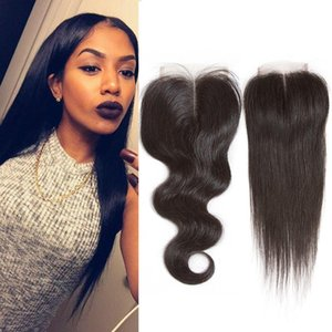 Wholesale 8a Brazilian Virgin Hair Straight Middle Part Closure Body Wave Human Hair Deep Wave Free Part Closure Bulk Remy Hair Extensions
