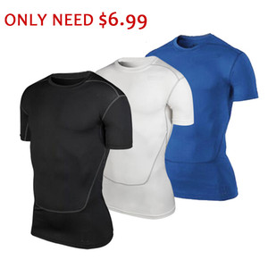Clearance Sale Only $6.99 Men Short Sleeve Running T-shirts Men Elastic Compression Gym Shirt Fitness Tight Quick Dry Sport Tops