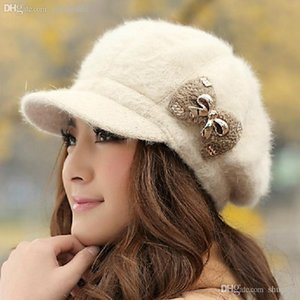 Wholesale-1Pcs Winter Rabbit Fur Hat Cap Fashion Women Bow Hat Knitted Warm Hat LadiesHeadgear Free Shipping