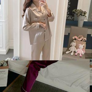 MISSKY 2 UNIDS / Set Pijama de Mujer Establece Ropa de Dormir Sólido Color de Solapa de Imitación de Seda Manga Larga Ropa de Casa