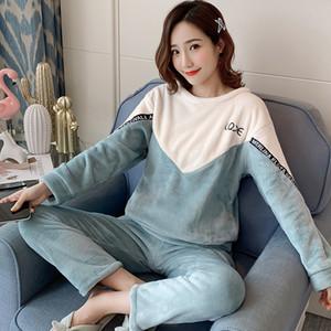 WAVMIT gros chaud Flanelle pyjama Thicken imprimé fille pyjama costume manches longues femmes de nuit Pyjama Set Y200425