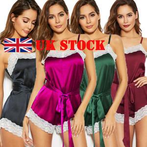 Women's Knotted Lace Trim Satin Rompers Bodysuit Belted Summer Pajamas Sleepwear Ladies Bandage Silke Nightwear Clothing