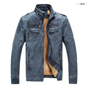 Erkek PU Deri Ceketler Kış Sıcak Fermuar Tasarım Biker Ceketler Mont Eski Ince Streetwear Yıkanmış Ceketler M-4XL