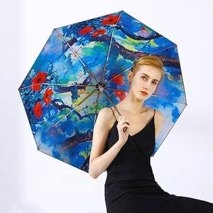 Chinese Oil Painting Style Golden Umbrella Woman And Lady Windproof Parasol Elegant Three-folding Umbrella Black Coating