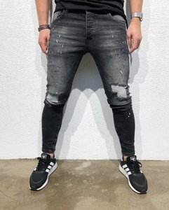 Mens Designer Pencil Jeans Slim Fit Big Hole The Side Printing Fashionable New Summer Street Style Personality Pants
