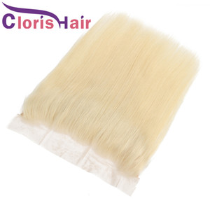 Frontali pieni dritti in seta bionda chiusura superiore vergine brasiliana capelli umani biondo platino 13x4 chiusura frontale in pizzo chiusura pizzicata 613