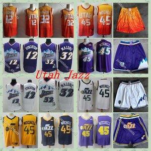 Utahle jazzDonovan Mitchell Basketball Maillots Vintage John Stockton12 Karl Malonenba 32 Pete Maravich 7 Chemises 2019