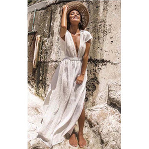 New Vertuschungen Sommer-Frauen-Strand-Abnutzung weiße Baumwolle Tunika Kleid Bikini Bade Sarong Wickelrock-Badeanzug-Vertuschung Ashgaily