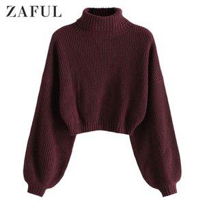 Женские свитеры Zaful Turtleeneck длинный фонарь рукав подрезанный свитер рулон шеи падение плечо сплошные перемычки короткие упругие женские пуловеры