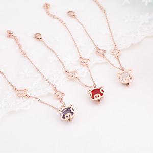 2019 Golden Pig Zodiac Bell Braccialetto di corda rossa Charm, in acciaio al titanio Colore oro rosa Carino mano piggy fortuna gioielli