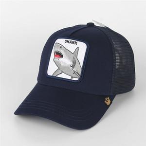Модные вышивки Shark Mesh Hat Животные Бейсболки лето Открытый ВС Hat Mens Golf Ball Cap Женщины Мода Козырек Горячие Пары Шляпы