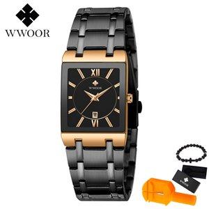 Reloj WWOOR Hombres de acero 2019 de la nueva marca de moda reloj de pulsera de acero rectangular Relojes Hombre reloj Relogio Masculino
