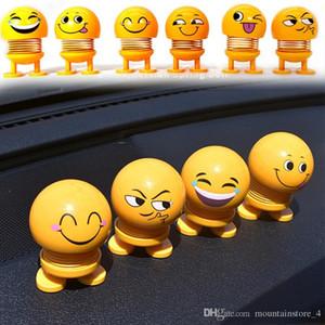 New Shaking Head Toys Car Ornaments Bobblehead Nod Dolls Simpatico cartone animato Divertente Emoji Wobble Head Robot Lovely Car Dashboard Decor Auto (vendita al dettaglio)