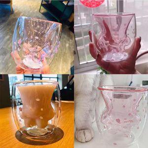 2019 niedliche Katzenklaue Glas Becher Cartoon Kaffee Milch Becher Tasse Doppelschicht Glas Teetasse für Starbucks Mädchen Geschenke Drop Shipping