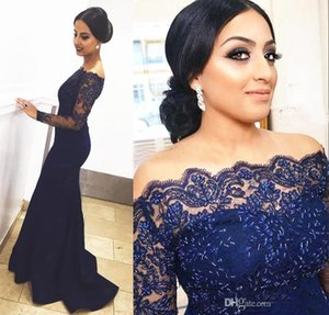 Elegant Dark Navy Blue Mermaid Evening Dress Off Shoulder Long Sleeve Beaded Appliques Formal Party Gown Custom Special Occasion Dress
