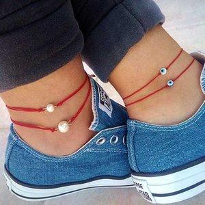 Boho 2 couches Anklet Sea Shell verre coloré Perle Sable Perles cheville Bijoux en cristal Étoile de mer Shell Pendentif Footchain Accessoires