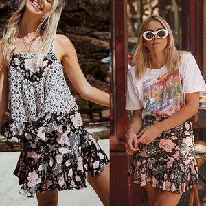 캐주얼 느슨한 여성의 경우 여성 스커트 Desiger 꽃 프린트 주름 치마 여름 짧은 드레스 새로운 패션 의상 스커트