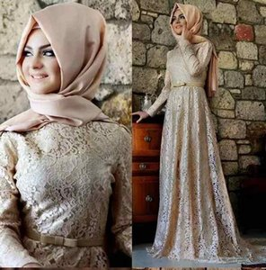 2019 линия полный кружева мусульманские вечерние платья с поясом длинными рукавами Ближнего Востока платья выпускного вечера арабский мать невесты вечерние платья