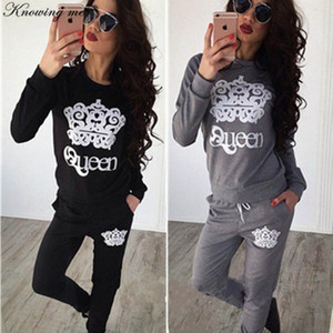 Knowing me 2019 Autumn Queen-Musterdruck Anzug Satz Frauen lässig o Hals Langarm Pullover Dame Mode Winter Sweatshirt 2Stk Set