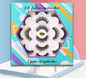 5D Поддельный норка Ресницы ручной работы 7 пар в Ресницы цветов Tray Natural Long Накладные ресницы