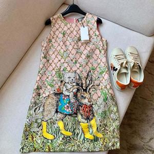 ragazze delle donne di fascia alta del collo abito senza maniche casuale animale floreale equipaggio di stampa una gonna linea 2020 di design di lusso di moda abiti sciolti cerniera