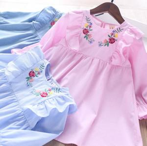 Girls flower embroidered stripe dress 2020 fall new children ruffle fly sleeve dress kids soft denim long sleeve dress A3441