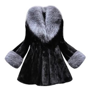 Winter Fashion Women Mink  Coat With Cap Fur Coats New Hot Sale Warm female jackets wool Solid Color  fur Outwear Parka
