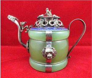 Chinesischer alter tibetanischer silberner Cloisonne-Teekanne Dragon Lion Green Jade