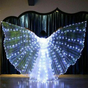 Parti Parlayan Rave Bar Belly Dance Performance Dikmeler Light Up Çubuk Sahne Giyim Cosplay LED Kanat 360 Derece Şovları