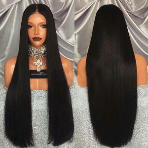 Donna capelli lunghi dritto davanti pizzo parrucca realistico nero nel parrucche donne chimica testa capelli della fibra il wholesale