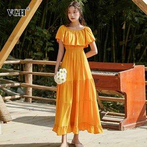VGH Elegant Ruched Summer Dress Women Slash Neck Half Sleeve High Waist Midi Casual Dresses For Female Clothes Fashion 2020 Tide