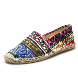Chaussures de toile nationale de chanvre Hommes d'été Espadrilles Hommes 2020 Mocassins Mode Hommes Slip respirant Mocassins Zapatillas Hombre