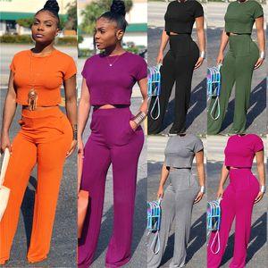 Frauen Designer Anzug Kurzarm T-Shirt Crop Top + Wide Leg-Hosen-Hose 2 Stück-Set O-Ansatz T-Shirt Outfits Tasche Anzug Kleidung