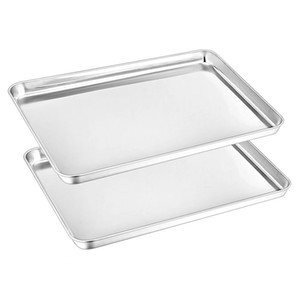 Большое дело противень для выпечки печенья листовой набор из 2, 430 противней для выпечки из нержавеющей стали лоток 16 x 12 x 1 дюйм, зеркальная отделка, легко моется