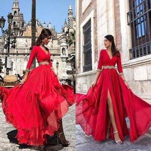 Neue Rote Abendkleider High Side Split 2019 Eine Linie V-Ausschnitt, Lange Ärmel Chiffon mit Schärpe-Abschlussball-Kleid Arabische Festzug-Kleider BA8807