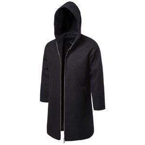 Autumn & Winter Mid-length Trench Coat Fashion Casual Solid Color Woolen Overcoat MEN'S Outerwear Yf11