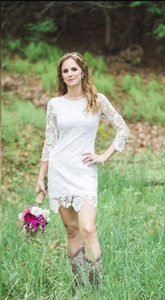 Elegant Full Lace Short Wedding Dresses With Long sleeves Short Length Country Garden Wedding Bridal Gown