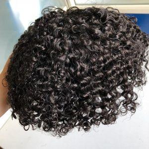 Homens Sistema de Cabelo Peruca Homens Hairpieces Corpo Curl Completo Rendas Toupee Jet Black # 1 Brasileiro Virgin Remy Solução de Cabelo Humano para Homens negros