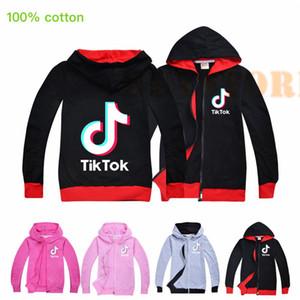 Tik Tok bambini a maniche lunghe con cappuccio Zipper Boy / Girl Tops teenager Giacca bambini Felpa con cappuccio del cappotto 100% cotone di trasporto