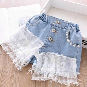 2020 new lace denim girls jeans Summer pearl girls shorts fashion kids shorts kids designer clothes girls pants kids clothes B1316