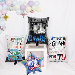 1pc 18inch heart Spanish Happy Father's Day Helium Globos Te amo love mama Feliz Dia Super Papa Foil Balloons mother party decor