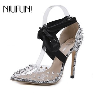 Sexy Snake Pattern Ankle Strap Transparent Rivet Women's Sandals NIUFUNI Pointed Toe Stiletto High Heels Women's Shoes Pumps Y200702
