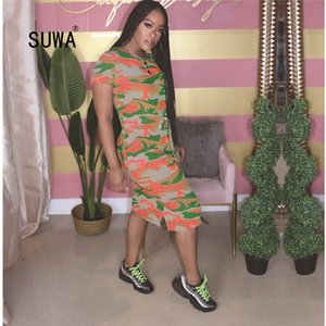 2020 SUWA New Arrival Fashion Retro Camouflage Print O Neck Straight Mid-calf Vestidos Summer Street Women T-shirt Dress T200526