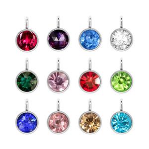Charms Birthstone connettore in acciaio inossidabile 12 colori di cristallo di Birthstone fascini strass Diy facendo braccialetto Orecchini Accessori