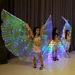 Desempenho do arco-íris Prop Mulheres Acessórios de Dança Meninas DJ LED Asas Light Up Asa Asas de Borboleta Traje Moda Xales