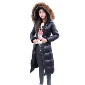 Женский пуховик Parkas 2021 Куртка с реальным воротником енота воротник с капюшоном длинные тонкие зимние теплые куртки для женщин пальто пальто outcoat yq795
