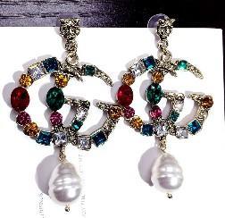 Desinger de lujo Pendientes cristalinos clásicos joyas de moda para Mujeres Declaración de imitación pendientes de la perla joyería
